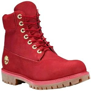 """Men's Timberland 6"""" Ruby Red Suede Ice & Fire"""
